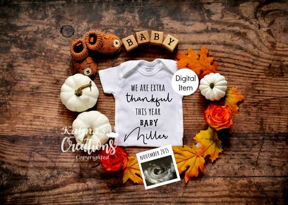Fall Baby Announcement - Thanksgiving Pregnancy Announcement Digital  -