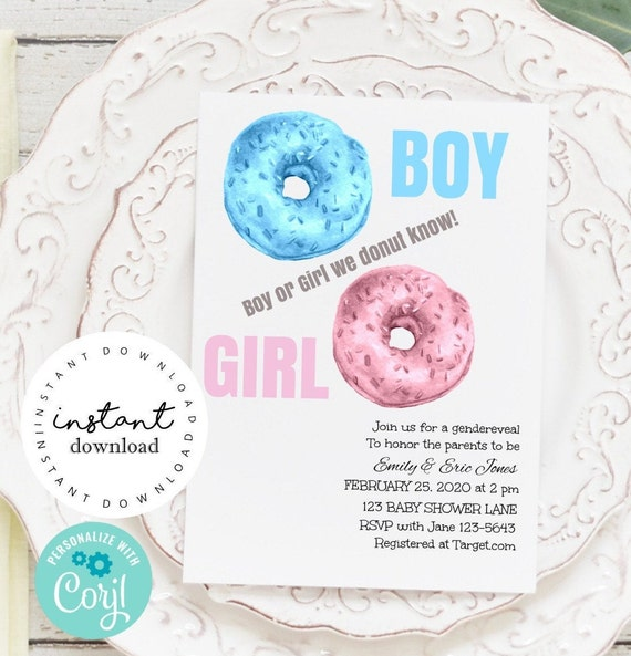 Donut Gender Reveal Party Invite -   baby shower invitation template - virtual baby shower invitation