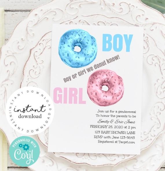 Donut Gender Reveal Party Invite -   baby shower invitation template - virtual baby shower invitation