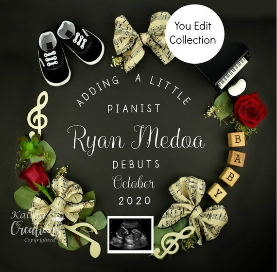 Music Notes Baby Announcement for Social Media