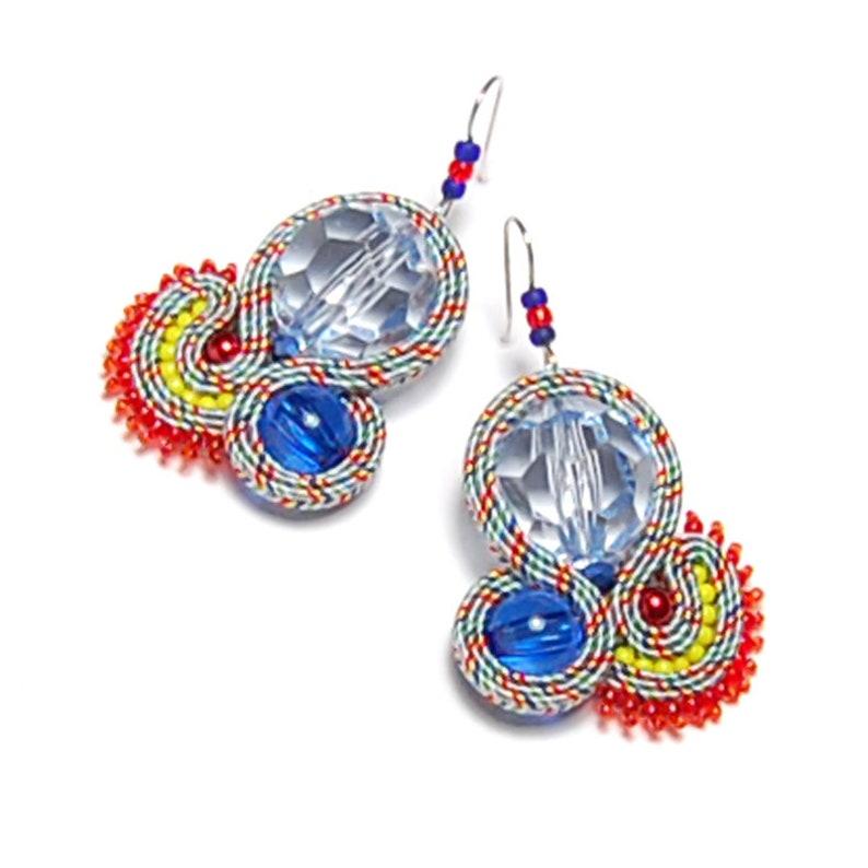 Soutache earrings blue red jewelry handmade sale sutasz boucles d/'oreilles orecchini pendientes oorbellen Ohrringe \u00f6rh\u00e4ngen