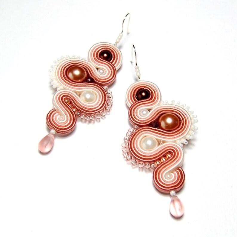Soutache earrings dirty pink salmon beige ecru handmade jewelry sutasz orecchini pendientes boucles d/'oreilles oorbellen Ohrringe