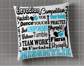 Custom cheer and dance team wording Square Pillows