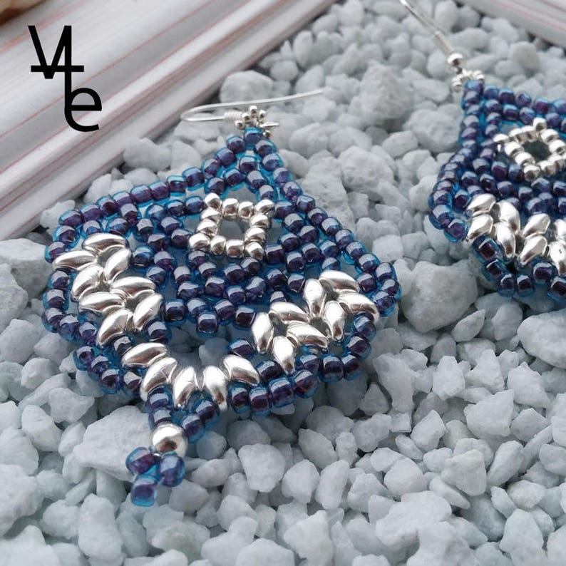 light earrings women/'s earrings Blue leaf earrings gift for women beaded earrings silver earrings earrings for her