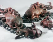 Set of 4 Antique Chinese Carved Rosewood Statue of Ox Water Buffalo.
