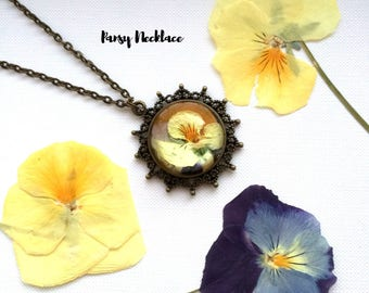 40%OFF!!!Pansy Flower Necklace, Real Flower Resin, women's Gift,Gift For Her, Bridesmai ds Gift, Bridal Gift.