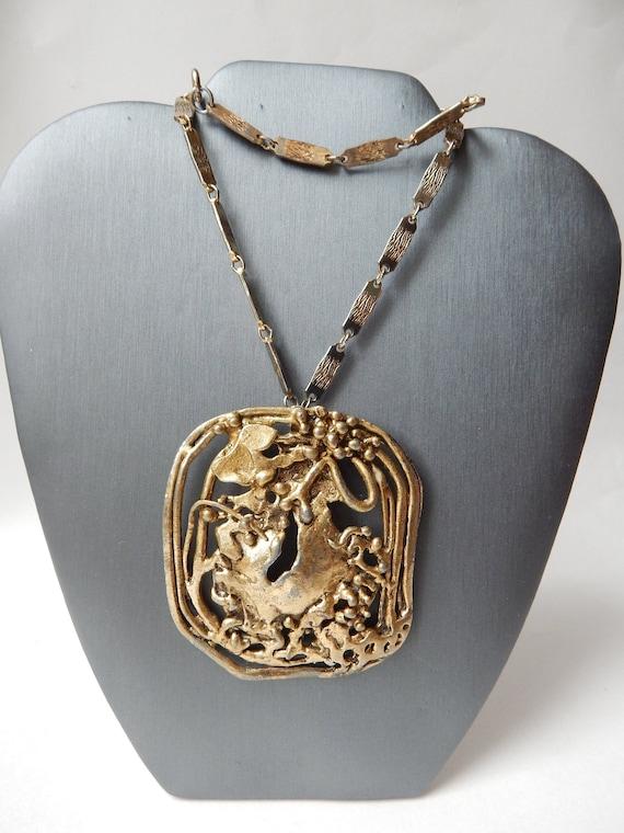 HOBE Brutalist Necklace Pendant - 1960 Treasure