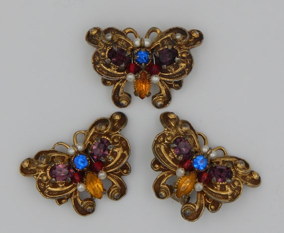 NAPIER Butterfly Pin & Earrings - 1950 Set