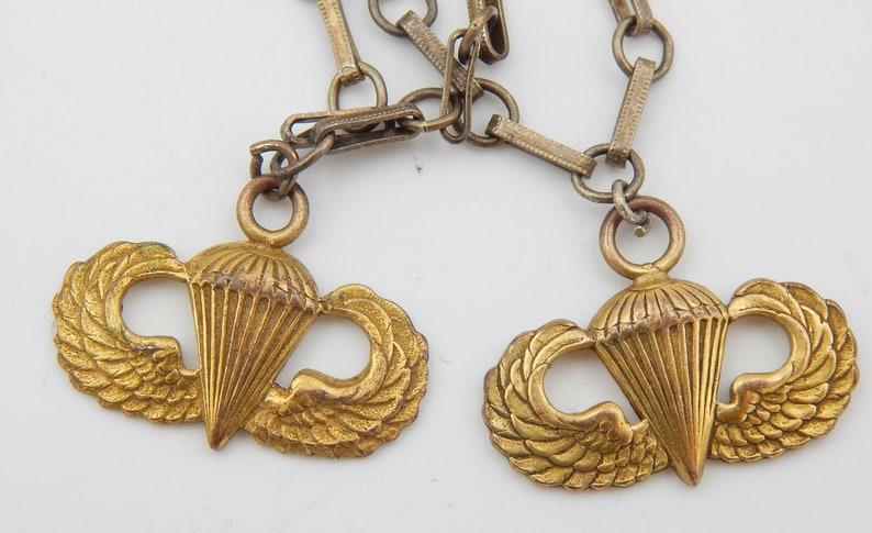 World War II Era Militaria STERLING Sweetheart Paratroop Charm Bracelet