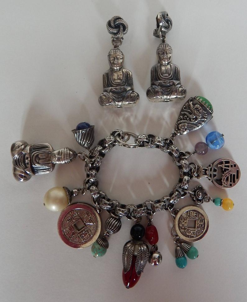 NAPIER Charm Bracelet /& Earrings Buddha Shangri-La Design
