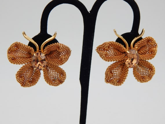 NAPIER Butterfly Earrings - Mesh & Rhinestones