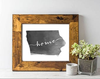 "Digital Iowa ""home"" Watercolor Print"