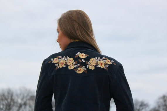 Take It Easy - Navy Blue, Suede, Embroidered, Flor