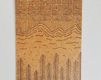 Handmade postcard on brown card