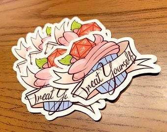 Treat Yourself! - Sticker, Cute Stickers, Fantasy Decal, Macbook Decal, Stickers Macbook Pro