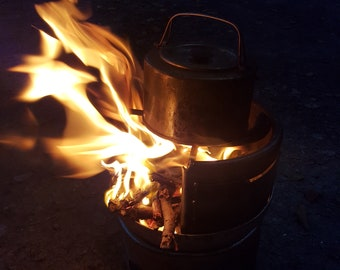 Hobbit Stove, re-cycled steel, camping, canoeing, bushcraft, hiking, fishing, fire trivet, festival, rocket stove, storm kettle