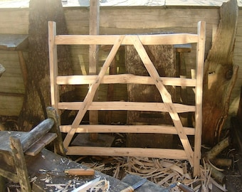 Traditional Sweet Chestnut woodland gate cleft hardwood handmade 3 1/2' x 3 1/2' custom size available, draw knife, axe, froe, spoke shave