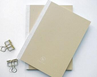 Kraft paper, flattened graph notebook, fountain pen-friendly, Size A5, travel journal, diary, planner, handmade, simple design.