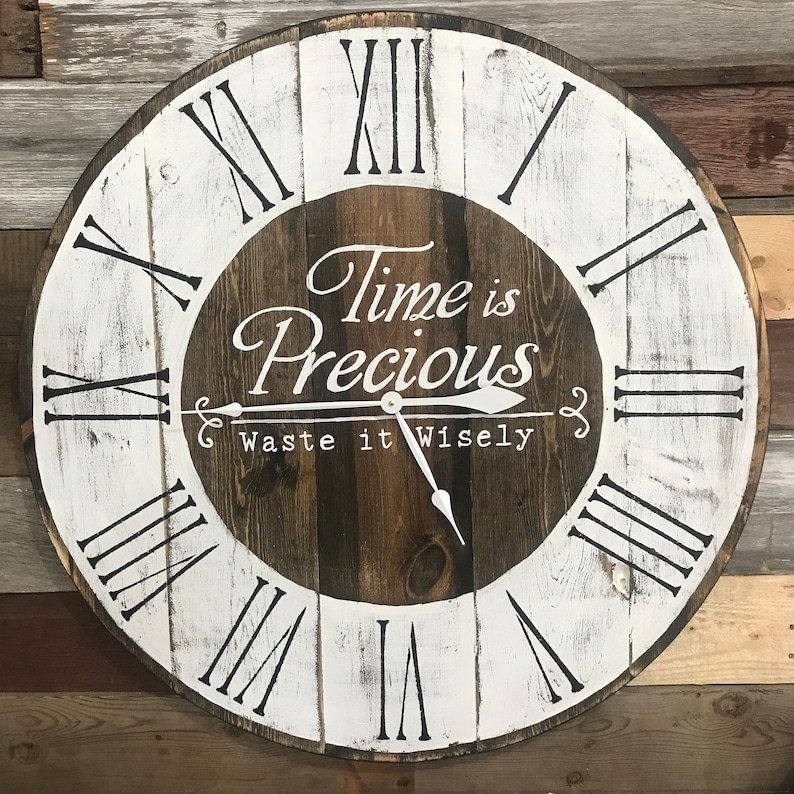 e91b29f7c2ed Time is Precious Waste it Wisely Farmhouse Wall Clock | Etsy