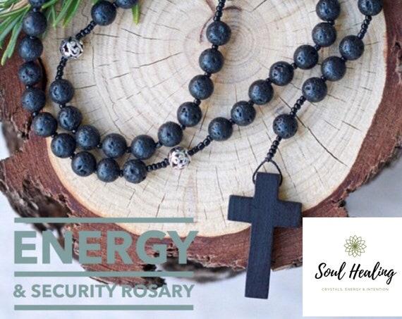 Catholic Rosary Beads Volcanic Lava And Thai Silver Prayer Etsy