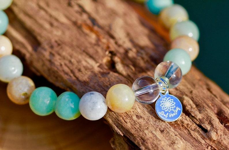 Quartz Crystal Stones Gemstone Bracelet Crystals For Harmony and Balance. 925 Sterling Silver Amazonite Stones