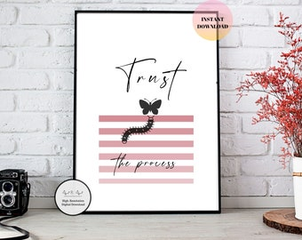 Printable Trust the Process Motivational Saying Wall Art | Instant Print Pink playful wall decor for living room or Kids room