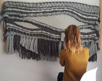 Extra large blue and grey woven tapestry 5ft    texture, fiber, wool, abstract