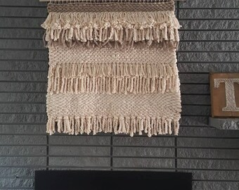 LARGE   Thick layered 3ft x 3ft   Neutral wall hanging