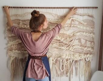 Extra large woven tapestry 5 foot | neutral, cream, walnut, boho, fiber art