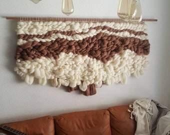 LARGE   Ultra textured wool 5ft x 3ft   Hung on walnut