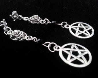 Earrings ' ' Pentagram Rose ' ', witch, medieval, Middle Ages, earrings
