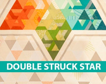 Double Struck Star/Quilt Pattern/Krista Moser/Modern/Strip Pieced/Printed/Quilted Life/Free US Shipping