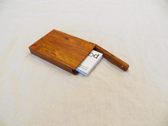 Wooden business card case credit card case magnetic lid etsy image 0 colourmoves