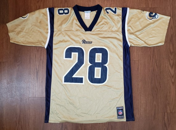 Marshall Faulk 28 St. Louis Rams Gold Jersey By Reebok | Etsy