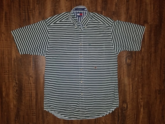 90s Tommy Hilfiger White & Hunter Green Striped Sh