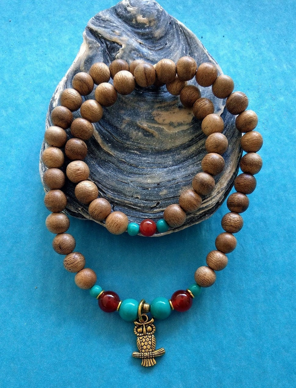 Magnificent agarwood bracelet with citrine and turquoise