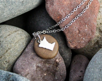 Lake Superior Stone Necklace with Rose Gold or Silver Charm - MN necklace, lake stone, gift for her, gift for him, northern Minnesota