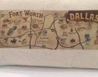 Dallas Fort Worth Linen Map Pillow