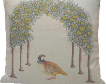 Partridge in a Pear Tree Linen Pillow