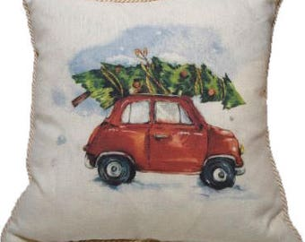 Bringing Home the Tree Linen Pillow