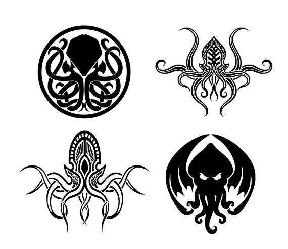 Kraken, cthulhu, octopus silhouette svg cut file. Vector clipart for use  with Silhouette Cameo, Cricut, DIE cut machines, instant download
