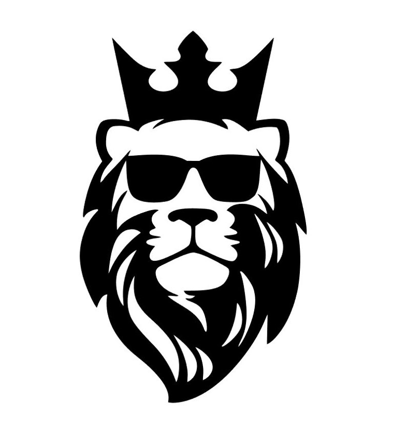 Download Lion crown with sunglasses silhouette svg cut file ...
