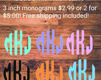 Flash monogram sale! Monogram decal, monogram for tumbler, laptop monogram, car decal, cup decal, customizable decal, 3 inch decal, on sale