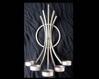 Scandinavian, Mid Century Modern - CANDLE HOLDER - Wrought Iron, 5-Arm, Wall Mounted
