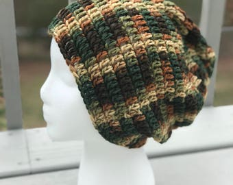 Brown, Beige, and Green Slouchy hat