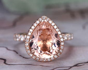 5eba2c803613 10x12mm Pear Cut Morganite Engagement Ring