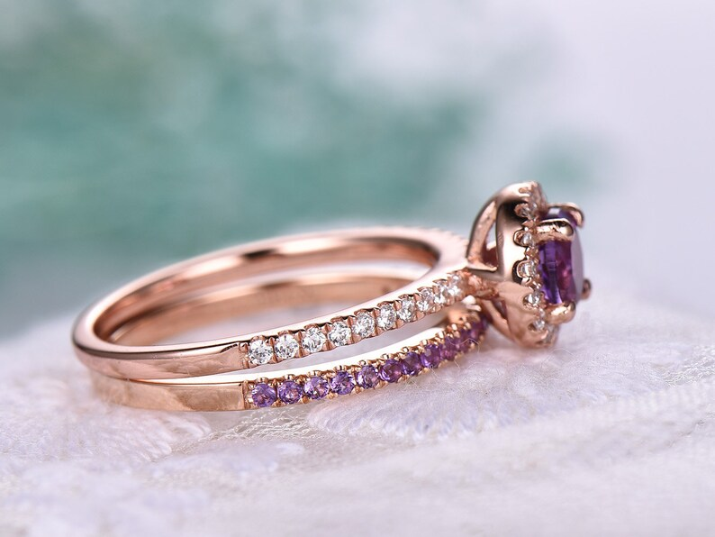 7mm Round Cut Amethyst Engagement Ring Set,Amethyst Wedding Band,14k Rose Gold,Anniversary ring,Promise ring,stacking ring,Gift for her