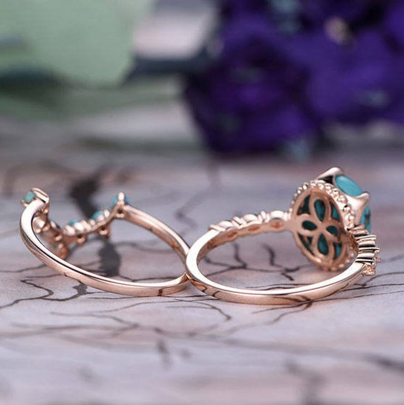 8x10mm Oval Cut Turquoise Engagement Ring Set,14k Rose Gold,Anniversary ring,Promise ring,Curved Shape,Art deco Marquise,Prong,Gift for her