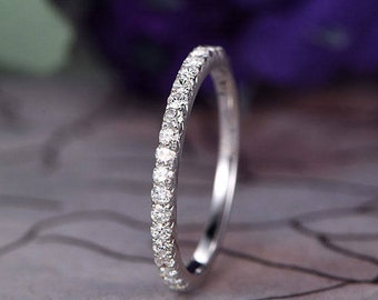 Moissanite Wedding band,14k White Gold,1.5mm Round Cut moissanite,Anniversary ring,Promise ring,Half Eternity,Stackable,Pave,Gift for her