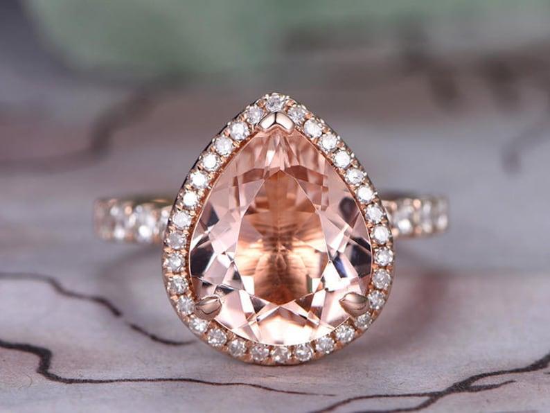 10x12mm Pear Cut Morganite Engagement Ring14k Rose image 0